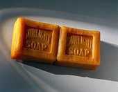 Cake of 'Sunlight' soap removed from its packet. Sunlight soap was produced by the immensely successful company, Lever Brothers of Port Sunlight in Li...