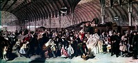 Colour print from the oil painting ´The Railway Station´ (1862) by William Powell Frith (1819-1909). Passengers are shown on a crowded station platfor...