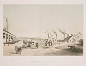 Lithograph by E Toovey after his own drawing showing a Royal state cannon foundry with cannon parts on the left and a completed cannon in the foregrou...