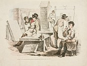 Lithograph by Denis Dighton showing stonemasons at work.