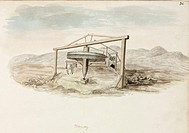 Watercolour labelled 'Whimsey', showing a horizontal wheel suspended from a wooden frame. One of a set of 66 watercolours and pen and ink sketches of ...