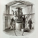 Engraving of Airy´s Altazimuth, a meridian instrument at the Royal Observatory, Greenwich (now part of Greater London). Designed by George Bidell Airy...