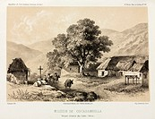 Lithograph by Champin of the mission station at Cocabambilla in the Eastern Andes. From 'Expedition dans les parties centrales de l´Amerique du Sud' (...