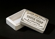 Pot for S J Weston's Myrrh and Borax tooth soap, prepared by S J Weston, London. Toothpowders and toothpastes are thought to have been used as long ag...