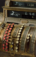 Detail. Model 422X mechanical cash register with paper receipt printer, manufactured by the National Cash Register Company of Dayton, Ohio, USA. From ...