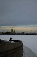 River Neva covered in ice