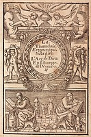 Woodcut showing the title within a decorative frame surmounted by four putti, two of them holding vegetables. Below, two alchemists are reading from b...