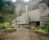 Multnomah Falls lodge with Multnomah Falls at background. Columbia River Gorge National Scenic Area. Oregon. USA