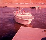 retro family boating