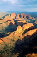 Aerial view of the Olgas, Uluru-Kata Tjuta National Park. Northern Territory, Australia