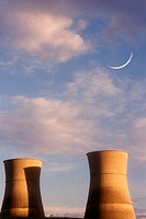 Nuclear Plant with Crescent Moon