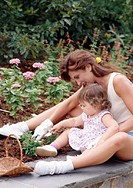 Mother and Toddler In Garden