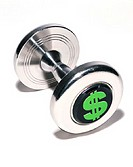 dollar symbol on dumbbell