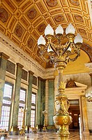 Gilded lamppost in the Hall of Lost Steps (Salon de los Pasos Perdidos) at the Capitolio Nacional. Havana, Cuba