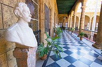 Palacio de los Capitanes Generales.  View of the second-floor gallery overlooking the central courtyard.  The gallery features several busts of histor...