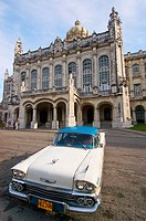 A classic American car from the 1950s parked in front of the Museum of the Revolution (Museo de la Revolucion). Havana, Cuba