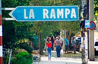 La Rampa is the busy stretch of Calle 23 in Havana's Vedado neighbourhood.  It is lined with offices, restaurants and bars. Havana, Cuba