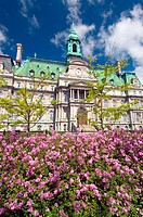 Montreal City Hall (Hotel de Ville) near Place Jacques Cartier in Old Montreal (Vieux Montreal). Montreal. Quebec, Canada