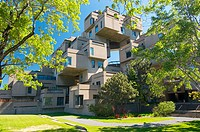 Habitat 67, this is a housing complex designed by architect Moshe Safdie and built for Expo 67. Montreal. Quebec, Canada