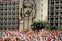 May day parade with relief of Che Guevara at background. Havana. Cuba