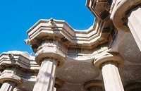 Columns at Parc G&#252;ell, by Antonio Gaud&#237;. Barcelona. Spain