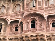 Carved windows and arches in stonework. Mehrangarh Fort. Jodhpur. India