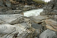 Slate rocks by Abiskojokka river. Abisko National Park. Lapland, Sweden