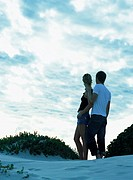 Couple standing together on sand dune, rear view