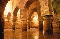 Moorish 'Aljibe' (water cistern) in the cellar of the 'Palacio de las Veletas'. Cáceres. Spain