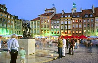 Old Town Market Square (Rynek Starego Miasta) with rebuilt buildings after World War II. Warsaw. Poland