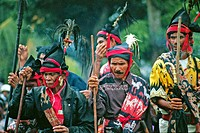 Sumbanese priests in traditional clothes. Sumba, Indonesia