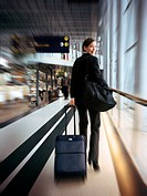 A business lady rushing across Arlanda Airport, Stockholm
