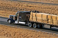 Big rig truck hauling lumber on interstate highway I-84. Northern Utah. USA