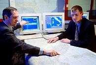 Nostradamus radar system. Richard Finck (left), director of the Nostradamus project at the French arms procurement agency DGA, and Gilbert Auffray (ri...