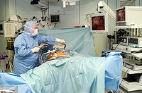 Colon endoscopy. Surgeon and an assistant performing an endoscopy on a patient with colon cancer. The surgeon is using a hand- held fibre optic camera...
