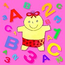 Child development. Artwork of a baby surrounded by letters and numbers.
