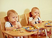 Identical twin baby boys eating. They are 15 months old. Genetically identical (monozygotic) twins arise when a single fertilised egg splits and devel...