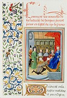 Illuminated manuscript page. Illuminated manu- script page showing a letter being delivered to a medieval king (at right). The page also features writ...