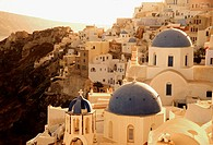 O&#237;a village and churches. Santorini, Cyclades Islands. Greece