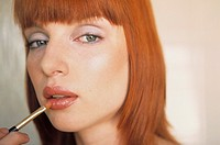 woman, redhaired, lipstick, portrait