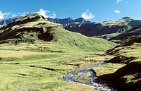 Drakensberg Scene, view from Lotheni Nature Reserve, KwaZulu-Natal, South Africa