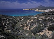 greece, cyclades, milos, tsigrado bay, landscape