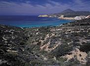 greece, cyclades, milos, tsigrado bay, landscape