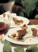 walnut cake with cream