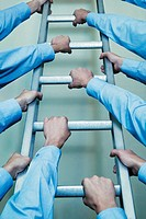 Businessmen´s Arms Climbing a Ladder