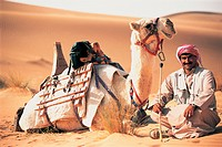 Arab Camel Herder Sitting Next to a Camel in the Dubai Desert, United Arab Emirates
