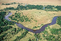 African landscape: aerial view of Mara River. Masai Mara, Kenya