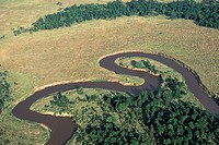 African landscape: aerial view of Mara River. Masai Mara, Kenya
