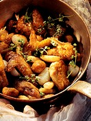 Guinea fowl with glazed pearl onions & chestnuts in pan