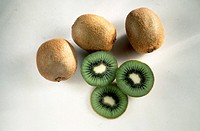 Three Whole Kiwis and Three Kiwi Halves